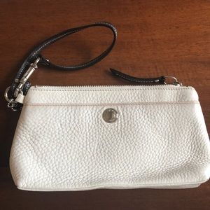 Coach white and black  pebbled leather wristlet